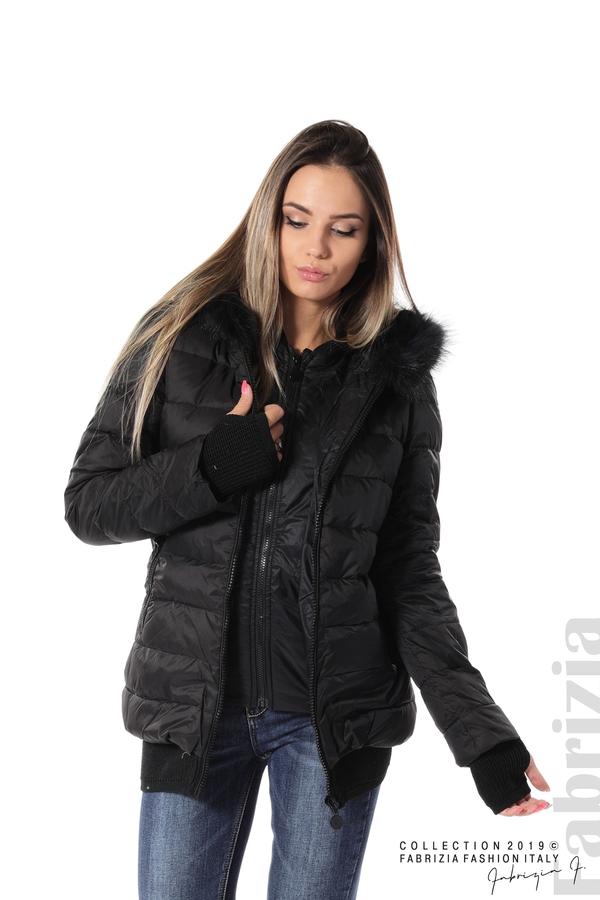 Дамско яке с естествен пух-черен-1-fabriziafashion.bg