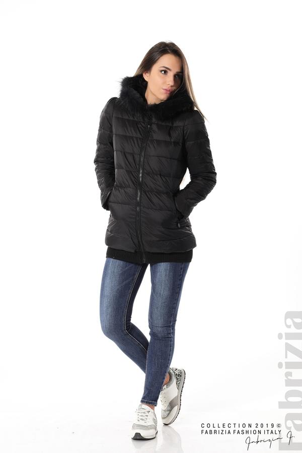 Дамско яке с естествен пух-черен-3-fabriziafashion.bg