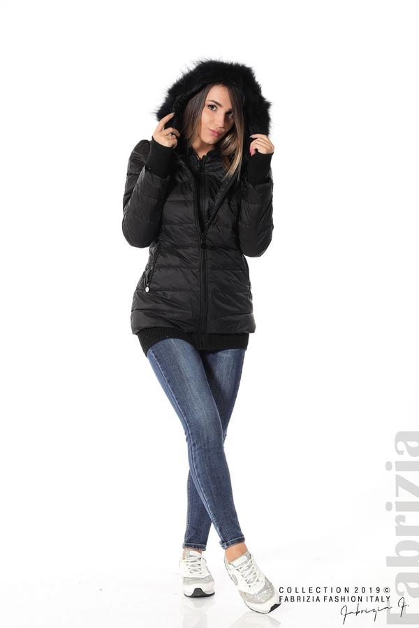 Дамско яке с естествен пух-черен-2-fabriziafashion.bg