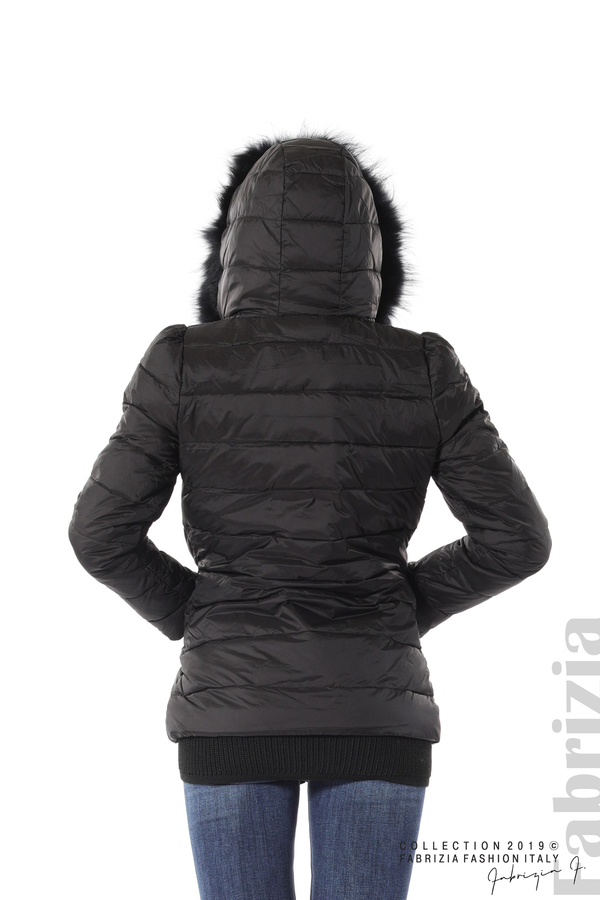 Дамско яке с естествен пух-черен-5-fabriziafashion.bg