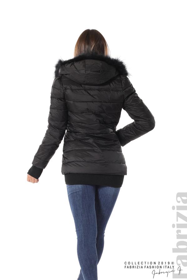 Дамско яке с естествен пух-черен-4-fabriziafashion.bg