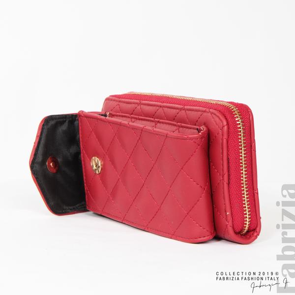 Дамско портмоне с дръжка и страничен джоб  червен 6 fabrizia