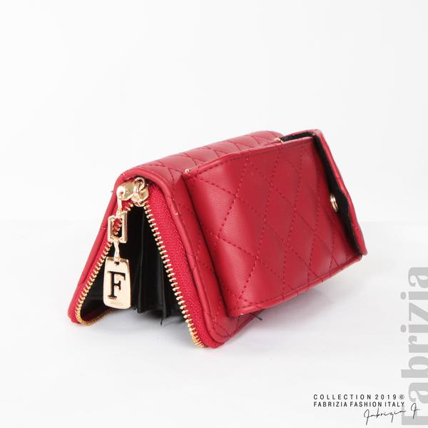 Дамско портмоне с дръжка и страничен джоб  червен 5 fabrizia