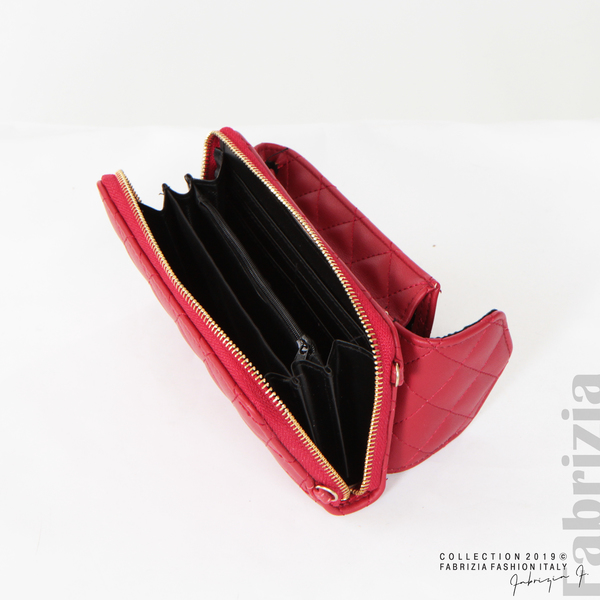 Дамско портмоне с дръжка и страничен джоб  червен 4 fabrizia