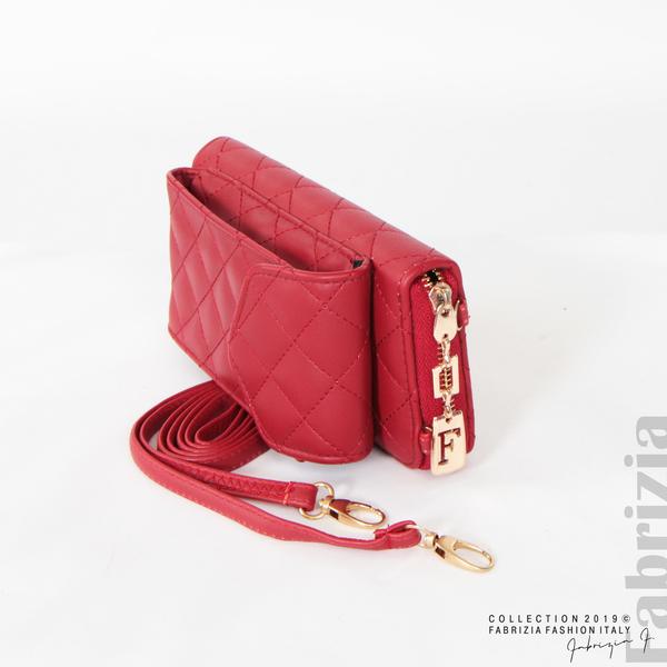 Дамско портмоне с дръжка и страничен джоб  червен 1 fabrizia