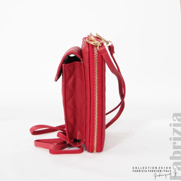 Дамско портмоне с дръжка и страничен джоб  червен 2 fabrizia
