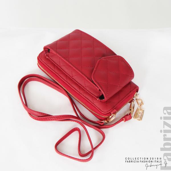 Дамско портмоне с дръжка и страничен джоб  червен 3 fabrizia