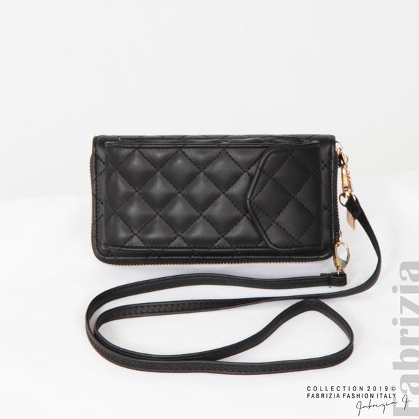 Дамско портмоне с дръжка и страничен джоб  черен 3 fabrizia