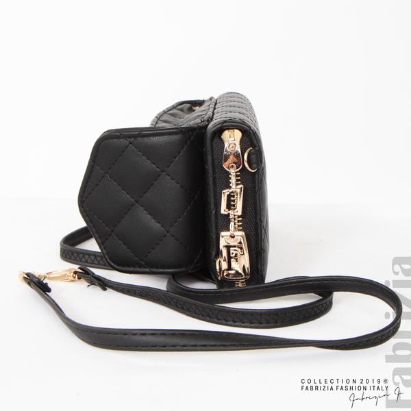 Дамско портмоне с дръжка и страничен джоб  черен 1 fabrizia