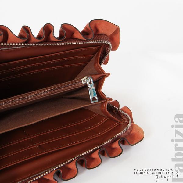 Дамско портмоне с камъни и къдрички кафяв 5 fabrizia