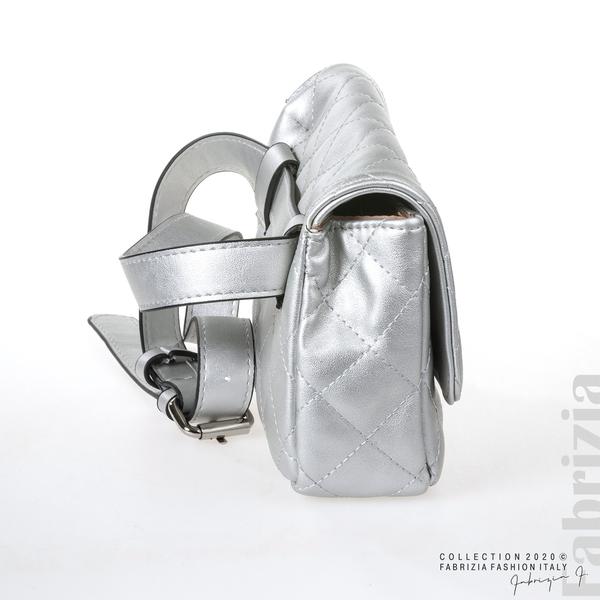Дамска чанта за носене на кръста сребрист 3 fabrizia