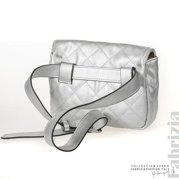 Дамска чанта за носене на кръста сребрист 2 fabrizia