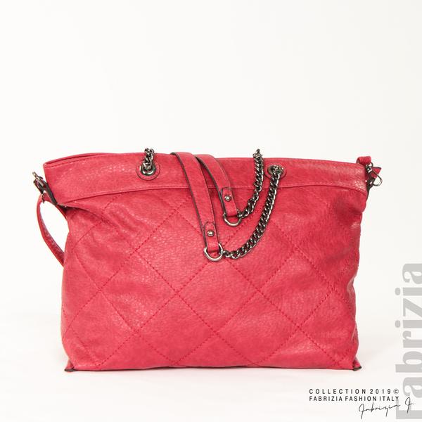 Дамска чанта с ромбове червен 1 fabrizia