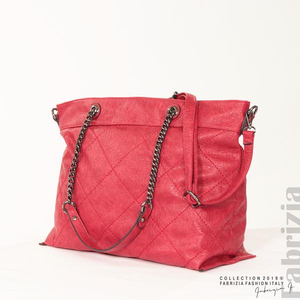 Дамска чанта с ромбове червен 2 fabrizia