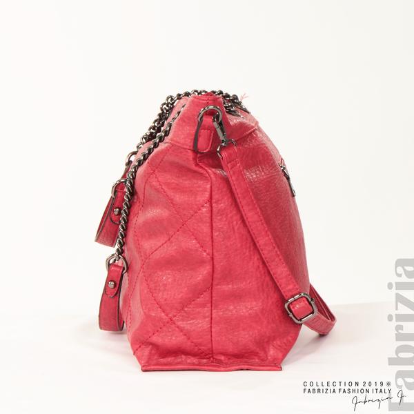 Дамска чанта с ромбове червен 3 fabrizia