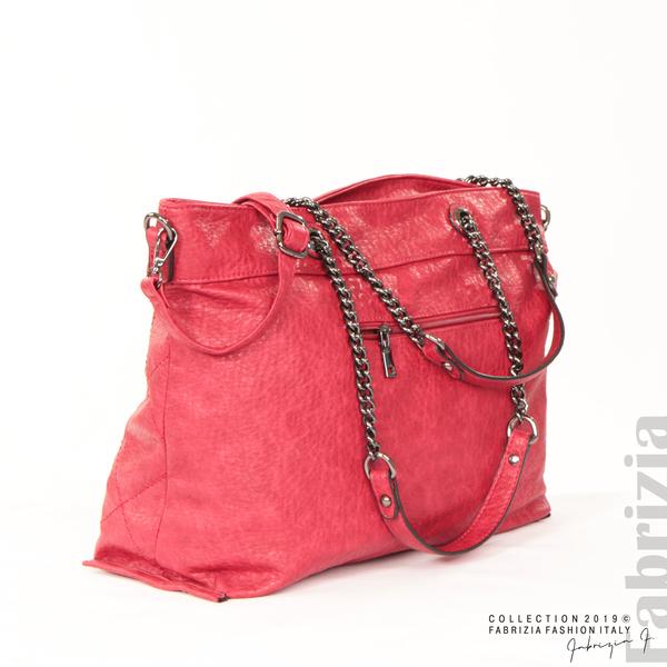 Дамска чанта с ромбове червен 5 fabrizia