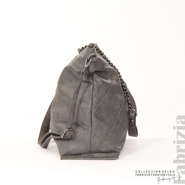 Дамска чанта с ромбове сив 2 fabrizia