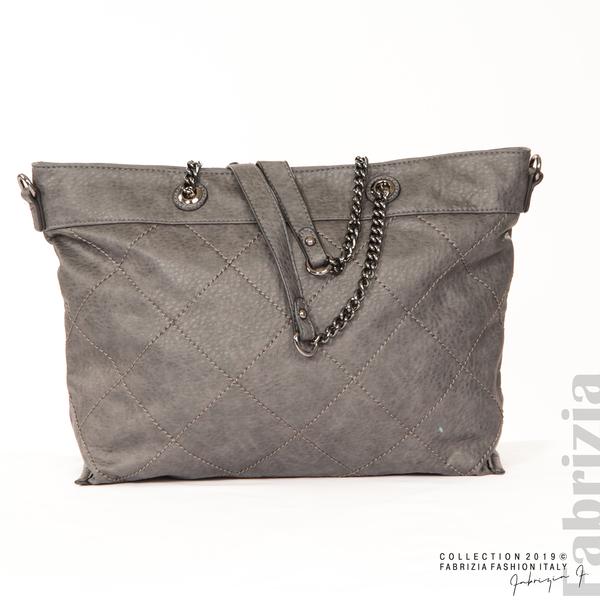 Дамска чанта с ромбове сив 1 fabrizia