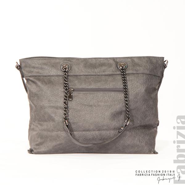 Дамска чанта с ромбове сив 3 fabrizia