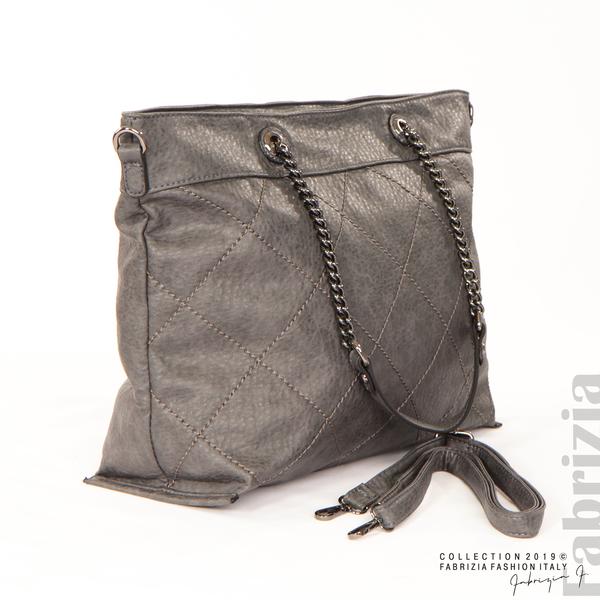 Дамска чанта с ромбове сив 4 fabrizia