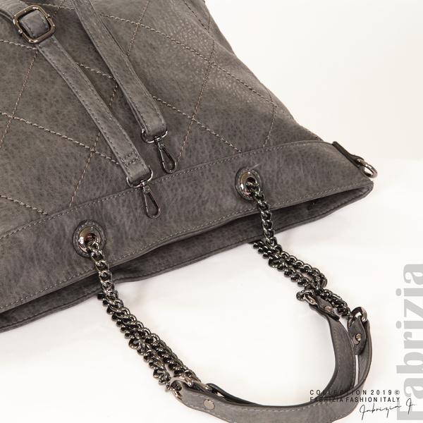 Дамска чанта с ромбове сив 5 fabrizia