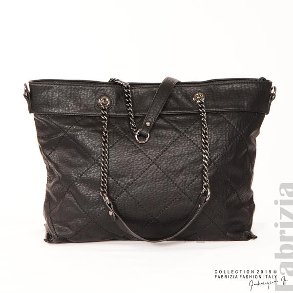 Дамска чанта с ромбове черен 1 fabrizia