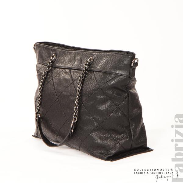 Дамска чанта с ромбове черен 2 fabrizia