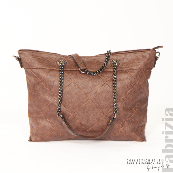 Дамска чанта с ромбове кафяв 1 fabrizia