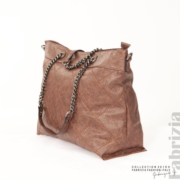 Дамска чанта с ромбове кафяв 2 fabrizia