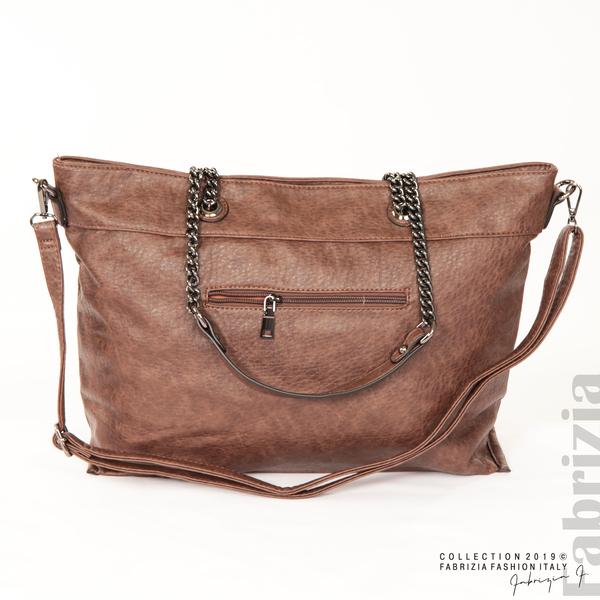 Дамска чанта с ромбове кафяв 3 fabrizia