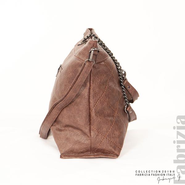 Дамска чанта с ромбове кафяв 4 fabrizia