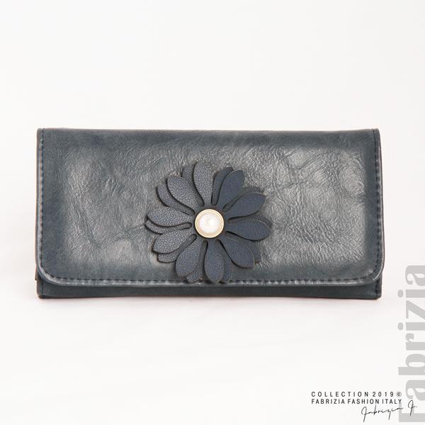 Дамско потрмоне с цвете син 1 fabrizia