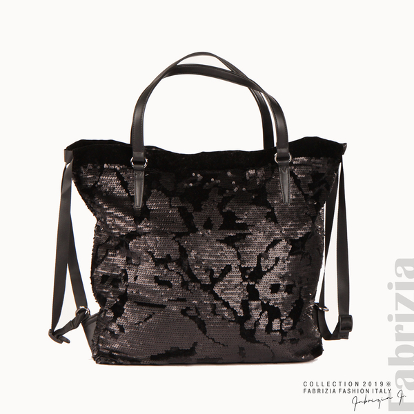 Дамска чанта с пайети и велур черен 1 fabrizia