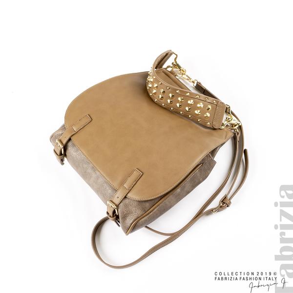 Дамска чанта с капси на дръжката мляко с какао 3 fabrizia