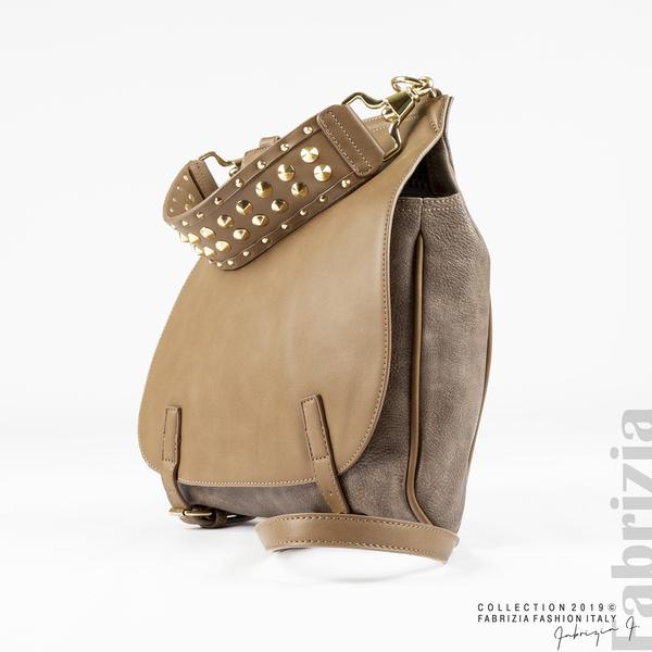 Дамска чанта с капси на дръжката мляко с какао 2 fabrizia