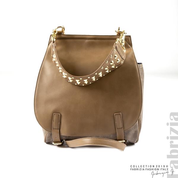Дамска чанта с капси на дръжката мляко с какао 1 fabrizia