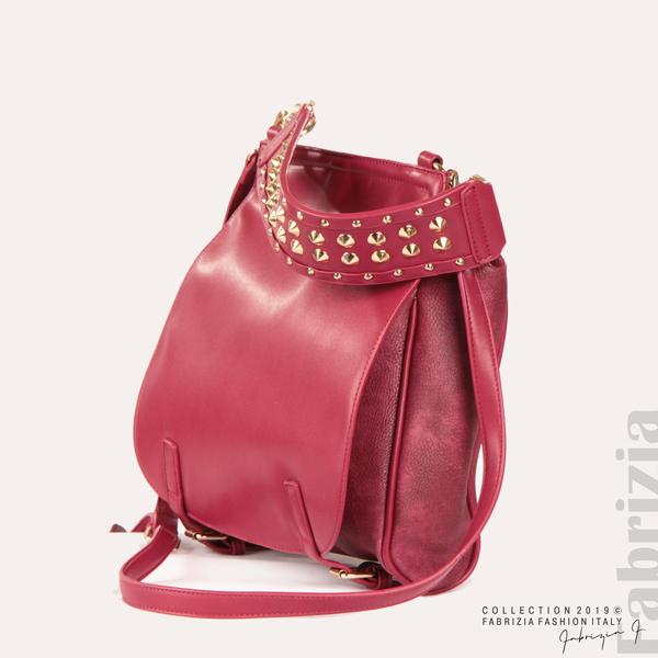 Дамска чанта с капси на дръжката червен 1  fabrizia