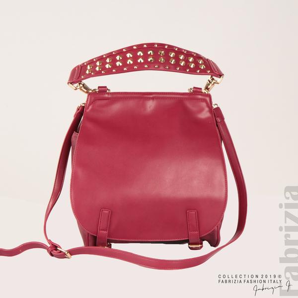 Дамска чанта с капси на дръжката червен 3  fabrizia