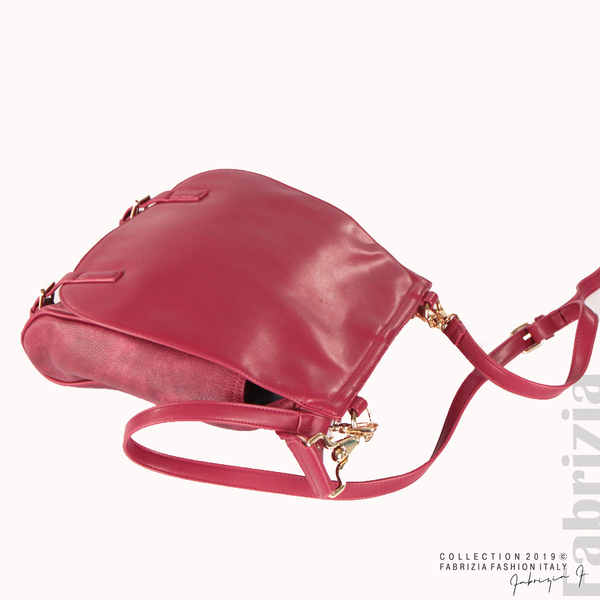 Дамска чанта с капси на дръжката червен 2  fabrizia