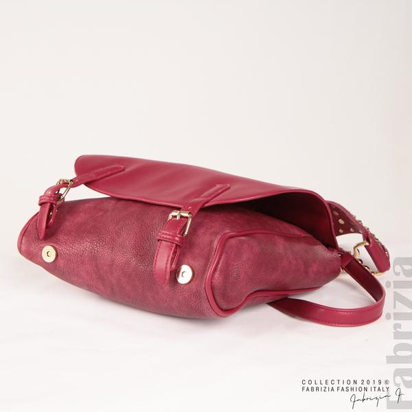 Дамска чанта с капси на дръжката червен 4  fabrizia