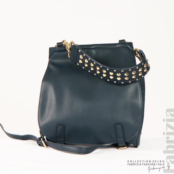 Дамска чанта с капси на дръжката син 2  fabrizia