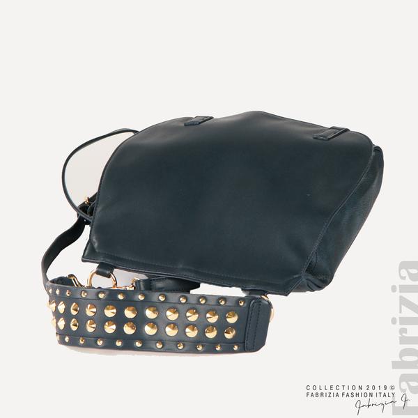 Дамска чанта с капси на дръжката син 3  fabrizia