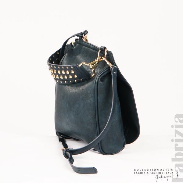 Дамска чанта с капси на дръжката син 4  fabrizia