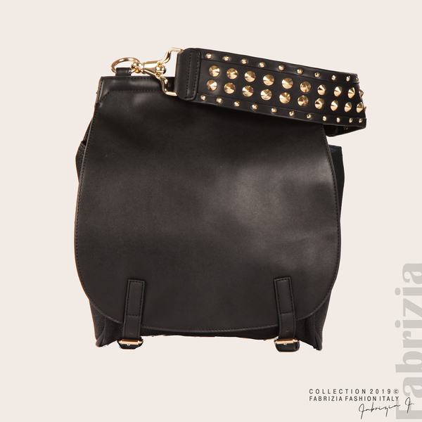 Дамска чанта с капси на дръжката черен 1  fabrizia