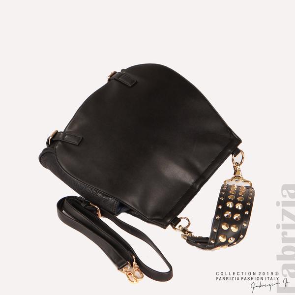 Дамска чанта с капси на дръжката черен 3  fabrizia