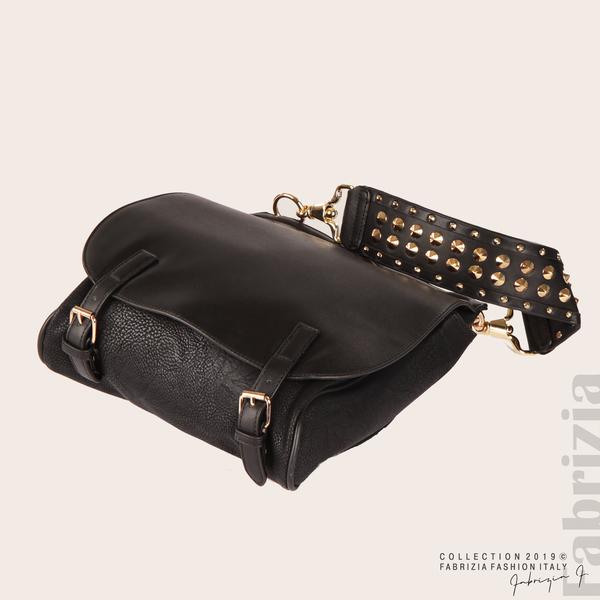 Дамска чанта с капси на дръжката черен 2  fabrizia