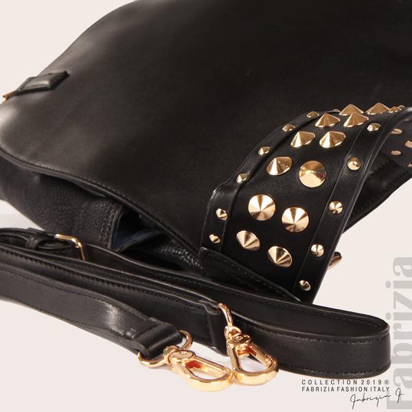 Дамска чанта с капси на дръжката черен 4  fabrizia