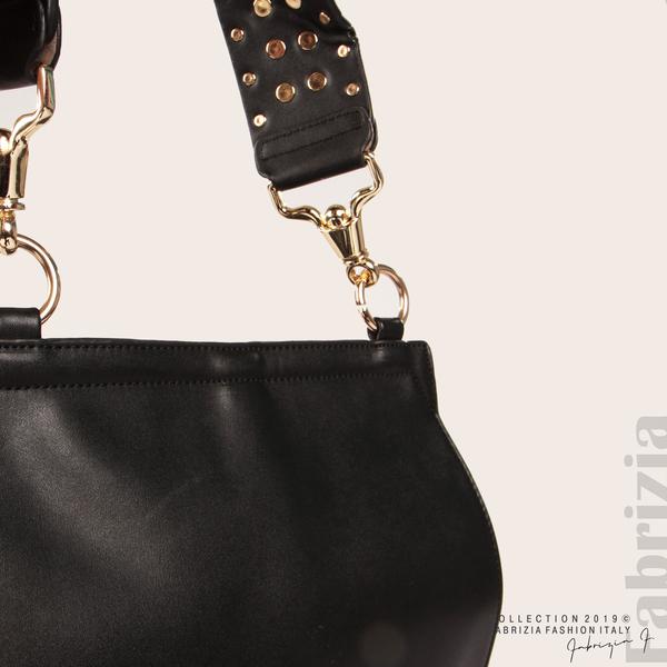 Дамска чанта с капси на дръжката черен 5  fabrizia