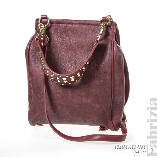 Дамска чанта с капси на дръжката пепел от червен 2 fabrizia