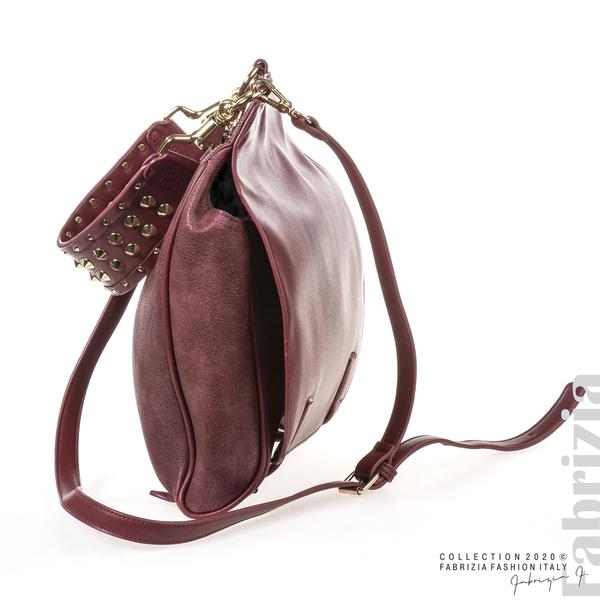 Дамска чанта с капси на дръжката пепел от червен 3 fabrizia